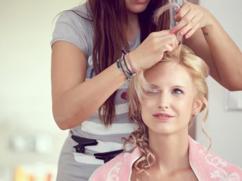 mobile hairdresser doing hairstyle
